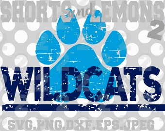 Wildcats svg, Wildcats cricut, TWildcats Cut File, iron on, Paw svg, Silhouette, Printable iron on, Digital Download, Cricut, Distressed svg