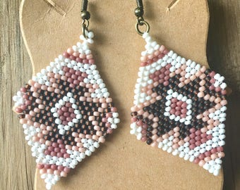 Handmade Brown, Pink and White Beaded Native American Inspired Earrings