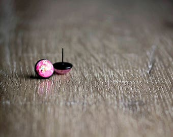 Earrings | Stud Earrings | Black Earrings | Black Stud Earrings | Gifts for Her | Pink Earrings | Glitter Earrings