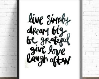 Wall Art Quote Print, 'Live Simply' Typography Print, Home Decor, Inspirational Quote