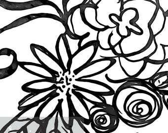Black and White Watercolor Floral Wall Decor - Printable Art - Digital Download