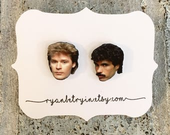 Hall and Oates Earrings - Celebrity Earrings - 80s Music - Daryl Hall John Oates 80s Jewelry - Maneater - Hall & Oates - Hall and Oats -