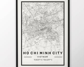 Ho Chi Minh City Map Print Modern Contemporary poster in sizes 50x70 fit for Ikea frame 19.5 x 27.5 All city available London New York Paris