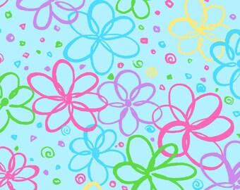 Bloom Doodle Flowers on Blue Fat Quarter Cotton Fabric (UK)