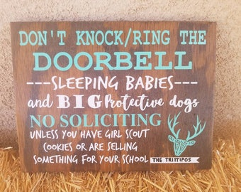 Don't knock or ring the doorbell babies sleeping sign