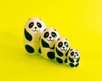 Hand painted Panda Nesting Dolls