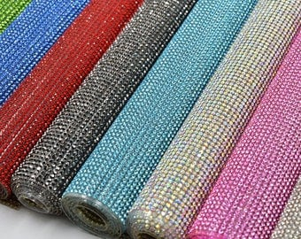 Rhinestone sheets / rhinestone fabric , perfect for dress making 46 inches long and 15 inches wide stone size 2mm- iron-on
