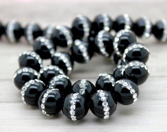 Onyx with Rhinestone Embedded Round Beads (8mm 10mm 12mm 14mm 16mm)