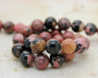 Rhodonite Smooth Round Natural Gemstone Beads (4mm 6mm 8mm 10mm)