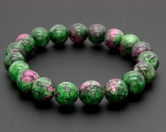 "Ruby Zoisite Gemstone Beads Size 10mm. Length 8"" Semi-Precious Gemstone Elastic Cord Bracelet Accessories"