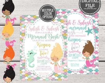 Mermaid Birthday Invitation, Under the Sea Invitation, Girls Birthday Invitation, Mermaid Birthday Printable, Birthday Invite Printable