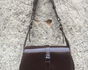 Brown leather Shoulder Bag model Sella of the collection Mario Valentino Anni ' 70