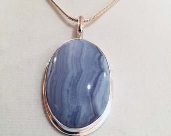 Blue Lace Agate Pendant in Sterling Silver