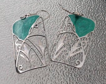 Vintage Silver and Green Enamel Earrings