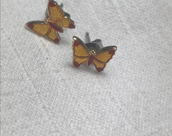 Vintage Yellow and Red Butterfly Earrings