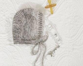 100% cotton organic baby bonnet/handknit
