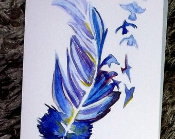 Feather watercolor card