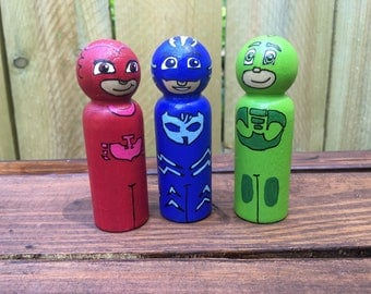 PJ Masks Inspired Peg People / Set of 3 / Wooden Peg People, Natural Toys, Hand Painted Toys, Wooden Toys, Peg Dolls, Disney Toys