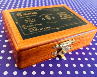 Sajou Black Needle Box, miniature box, sewing box, pin and needle storage, wooden box, hinged box, sewing gifts, gift for her, sewing notion