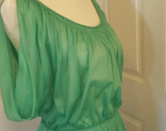 "Vintage Vanity Fair floor length ""Grecian style"" green nightgown, vintage 1960s.  Made in USA."