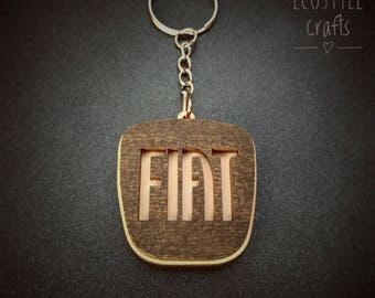 Fiat car keychain with logo made of wood - Laser Cut Wooden Keychain for men and women cool car key ring fiat gift idea porte clé