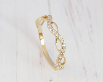 Yellow gold ring, Yellow gold band, Eternity wedding ring, Eternity ring gold, Eternity band, Women eternity ring, Women eternity band