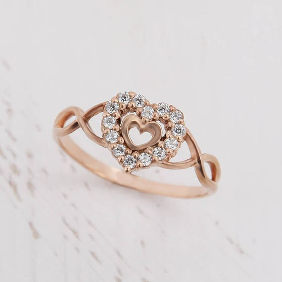 Heart ring Romantic ring Unique ring gold Promise ring for