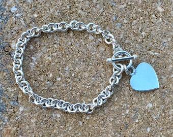Silver Bracelet - Heart Dangle Medium Charm Circular/Circle Link Toggle Clasp