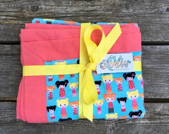 Doll print flannel blanket with trim for baby or child, stroller blanket, car seat blanket, baby girl gift, double bun dolls, doll lover