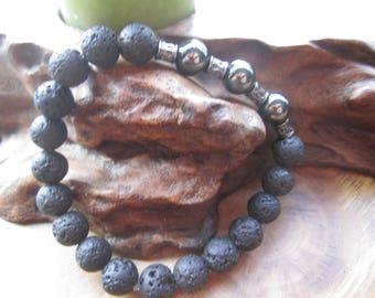 Lava stone and Hemlite Bracelet