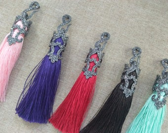 3 pieces of hollowed-out, diamond-encrusted silk tassel earrings necklace sweater chain DIY jewelry accessories