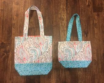 Canvas Tote Bag - teal, coral, and grey paisley