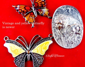 Vintage and New Butterfly and Lions Destash Pendants and Clips, Brooch, altered art, jewelry making, scrapbooking, assemblage