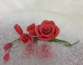 "3"" Red Rose Spray Birthday/Wedding Cake Topper Decoration"