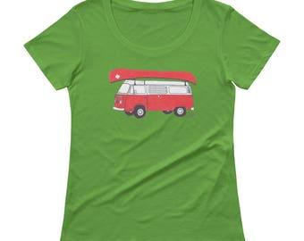 VW Campervan poptop camper t-shirt Commemorative Canadian National Parks Tee - Ladies' Scoopneck Tee