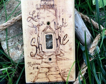 Light switch cover- Light switch plate- Light switch plate cover- Wood light switch cover -Handmade light switch cover-Wood burned