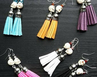 Silver handmade earrings, Dias de los muertos, day of the dead earrings, silver earrings, tassel, BOHO chic jewelry, sugar skull