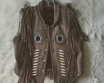 Vintage leather Easy Rider festival vest size Small. Vintage fringe riding gear size Small.
