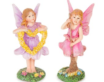 Flower Heart and Broomstick Fairies 2 Piece Set, Miniature Fairy Garden Dollhouse