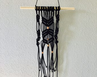 Black Macrame Wall Hanging with Copper Accents