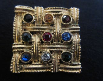Vintage Square Brooch Studded with Coloured Rhinestones Set in Gold Tone
