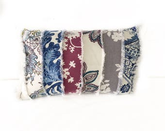 Piecework Fringed Lumbar Pillow with Insert