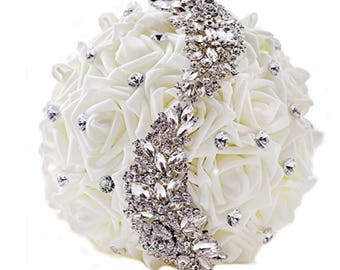 brooch wedding bouquet, white flowers, crystal bling 9x11