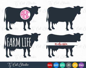 Cow SVG File, Cow Cut File, Cow Monogram Svg, Cow Split Svg, farm life, Svg Files for Silhouette Cameo or Cricut.