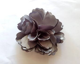 2 Grey Rose Flower Baby Girl Hair Clips Brooches 1 Pair