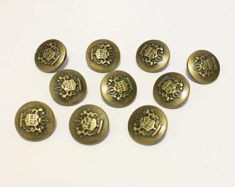 10 Royal Antique Bronze Shank Vintage Hole Buttons 25x25mm