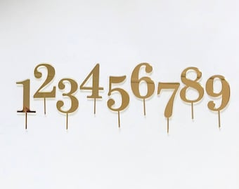 Number cake topper in gold mirrored acrylic 1 2 3 4 5 6 7 8 9 0