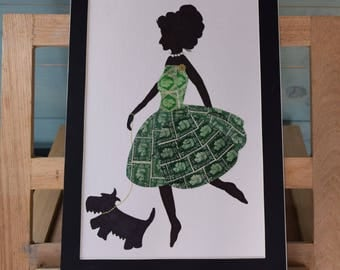 Stamps in Silhouette - Recycled Postage Stamp Art