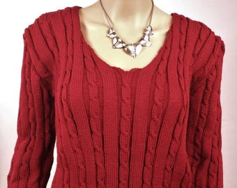 Woolen pullover, hand-knitted Pullover, Pullover Bordeaux,  hand-made Pullover, Cable-knit sweater, Pullover woman, France, Acrylic