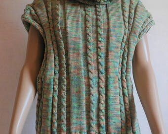 Cape - Poncho - made tricolor Tricot_Laine_ hand - made in France-size 38 - 0106